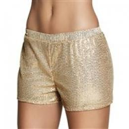 Hotpants Sequins goud (M)