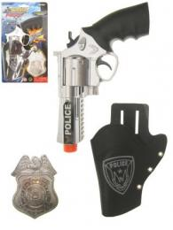 Pistool met holster + badge police