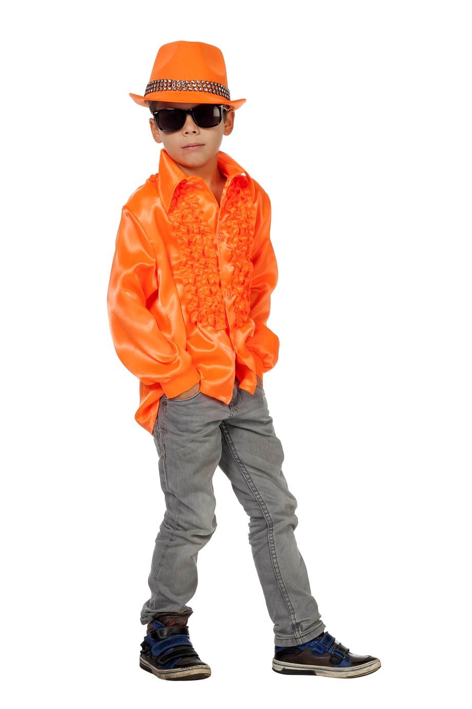 Ruchesblouse satijn kinderen neon oranje