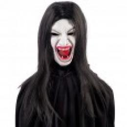 Lady Vampire latex mask with hair