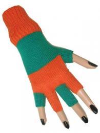 Vingerloze handschoen oranje groen