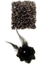 Bloemen met speld clip zwart