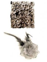 Bloemen met speld clip zilver